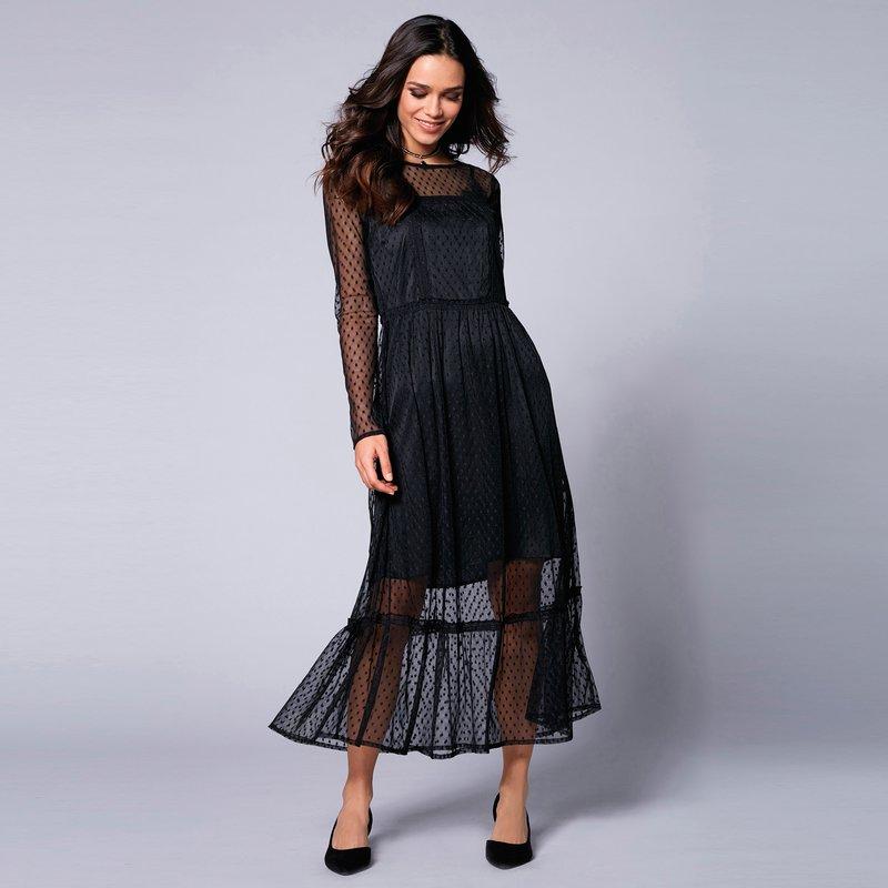 Vestido de manga larga en tejido tul plumetti