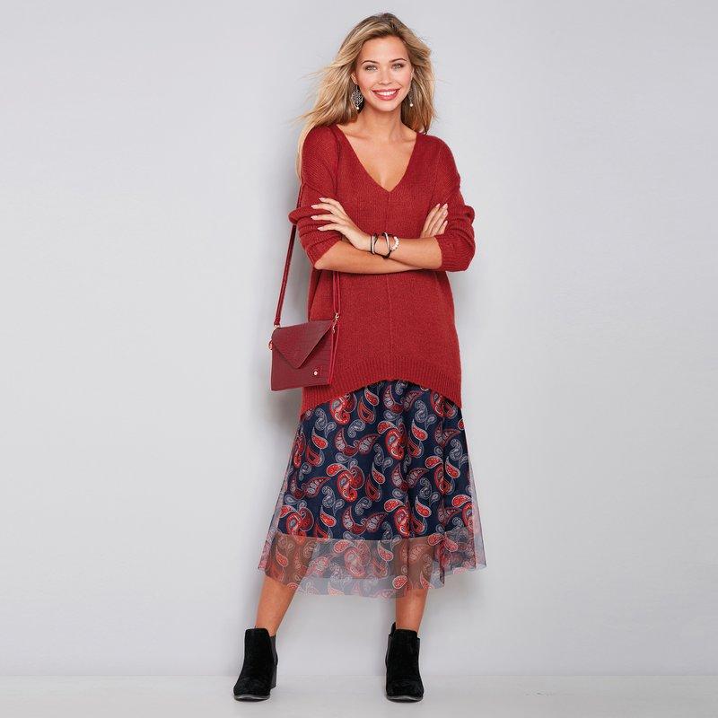 Falda midi de tul estampado semitransparente
