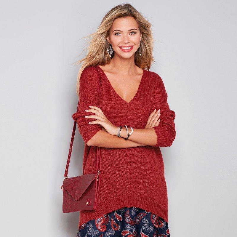 Jersey tricot con escote V y acabados del revés