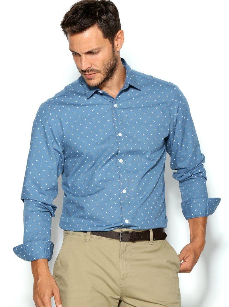 Camisa hombre geométrica slim fit