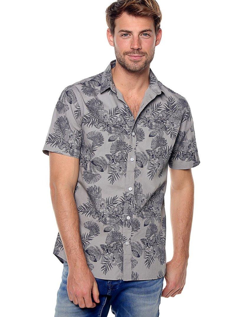Camisa hombre manga corta hibiscus slim