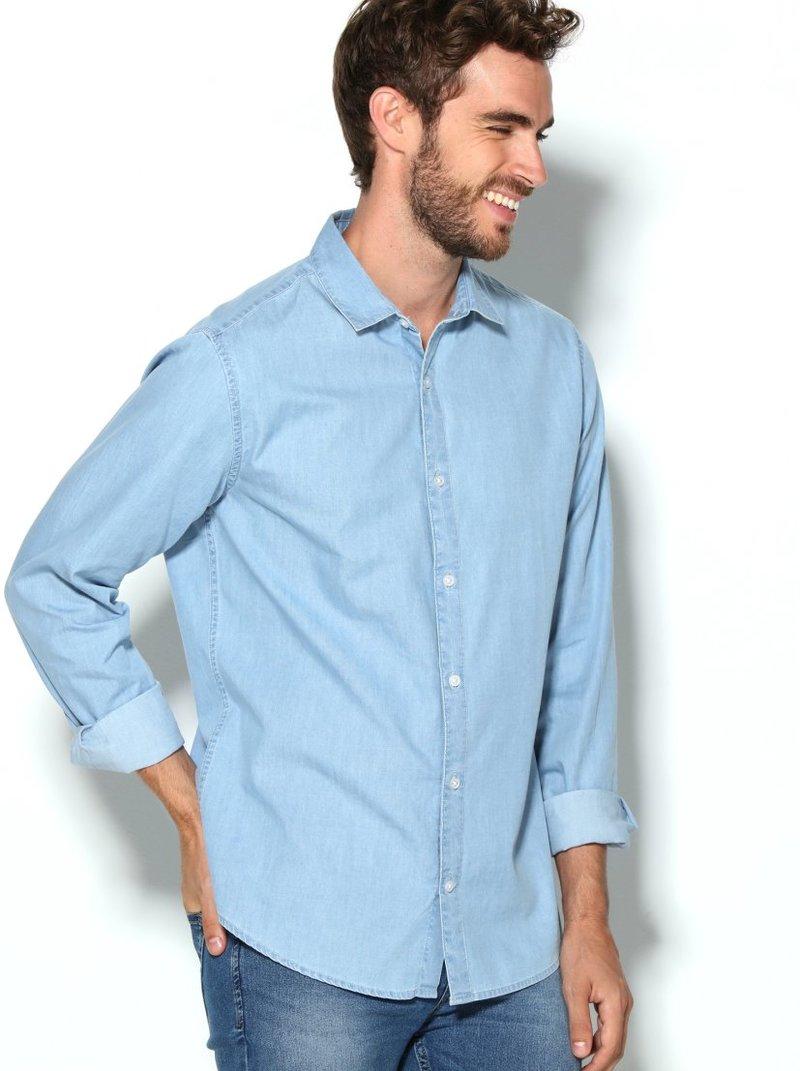 Camisa hombre vaquera corte slim