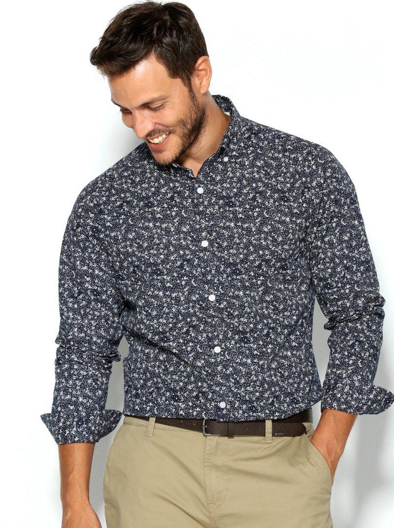 Camisa hombre estampada corte slim