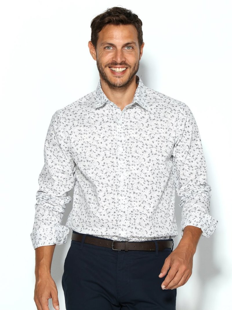 Camisa hombre mini raya vertical corte slim