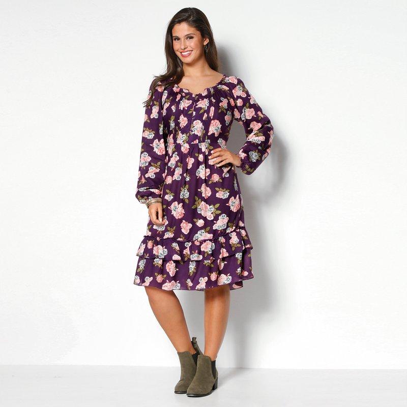 Vestido floral con jaretas tallas grandes