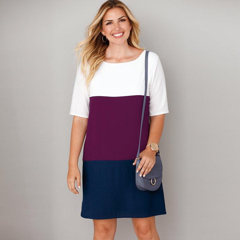 Vestido tricolor forrado tallas grandes