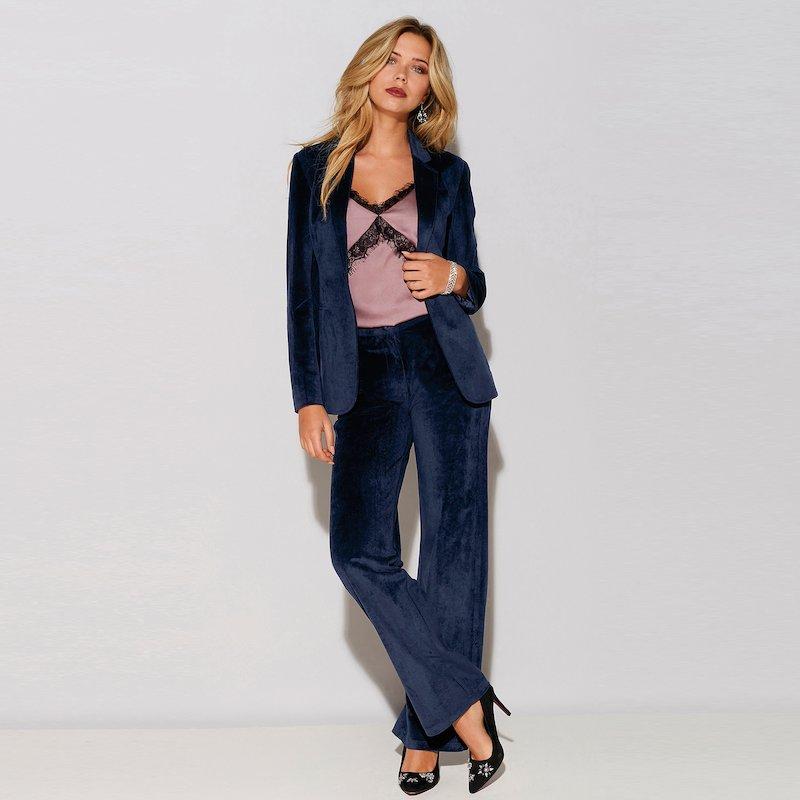 Pantalón largo de terciopelo de pernera ancha - Azul