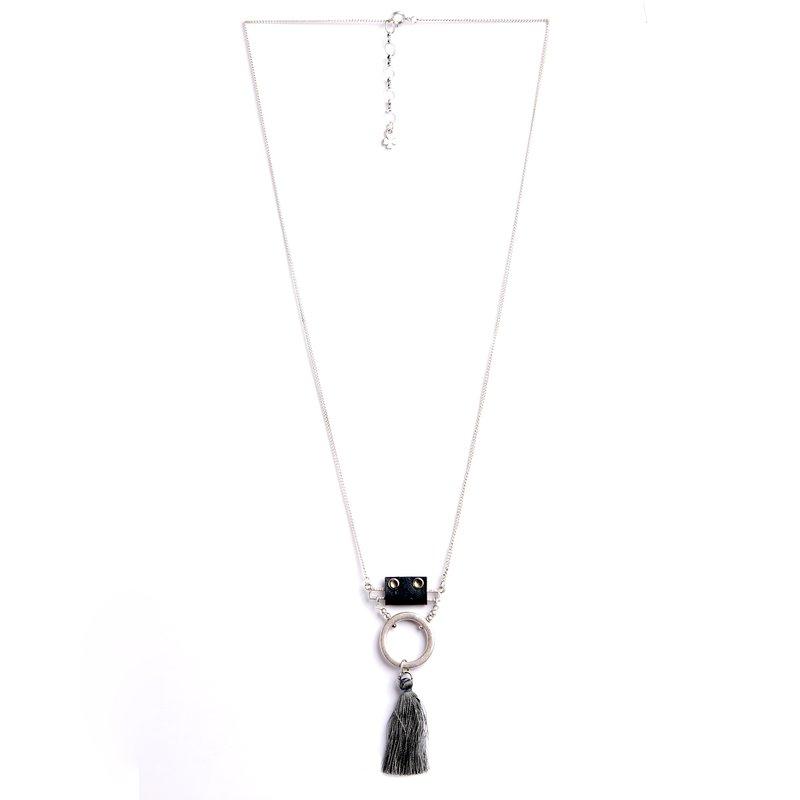 Collar de doble cadena metálica con aro