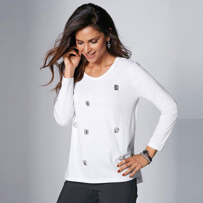 Camiseta con pedrería y bajo asimétrico