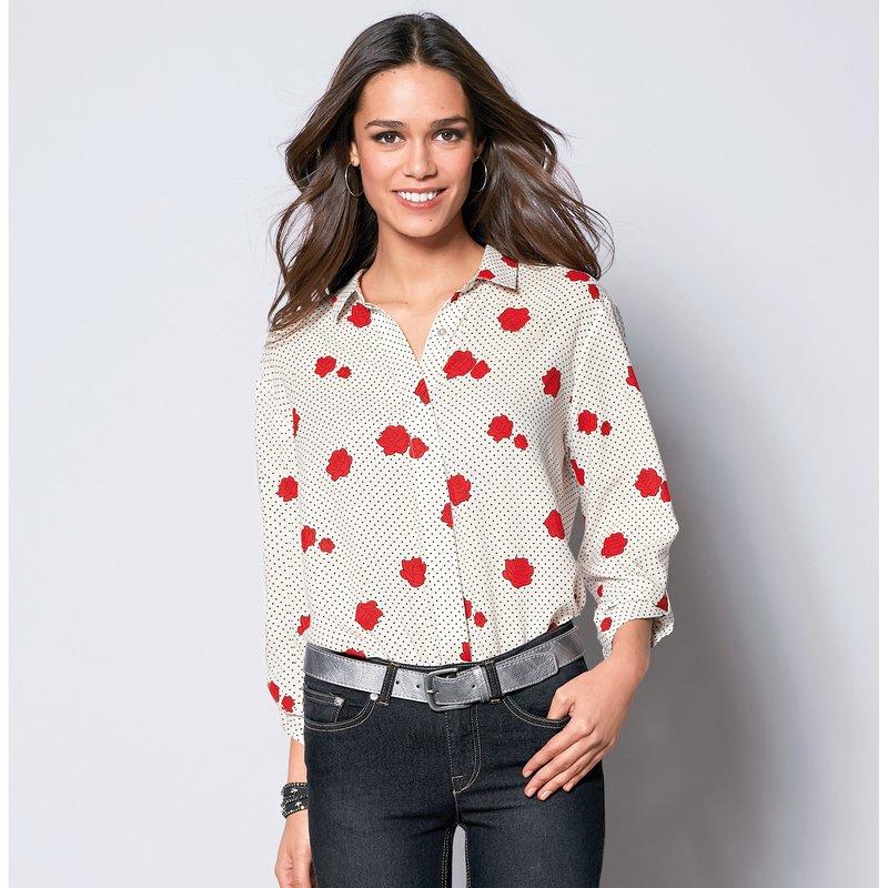 Camisa estampada rosas de manga 3/4 regulable