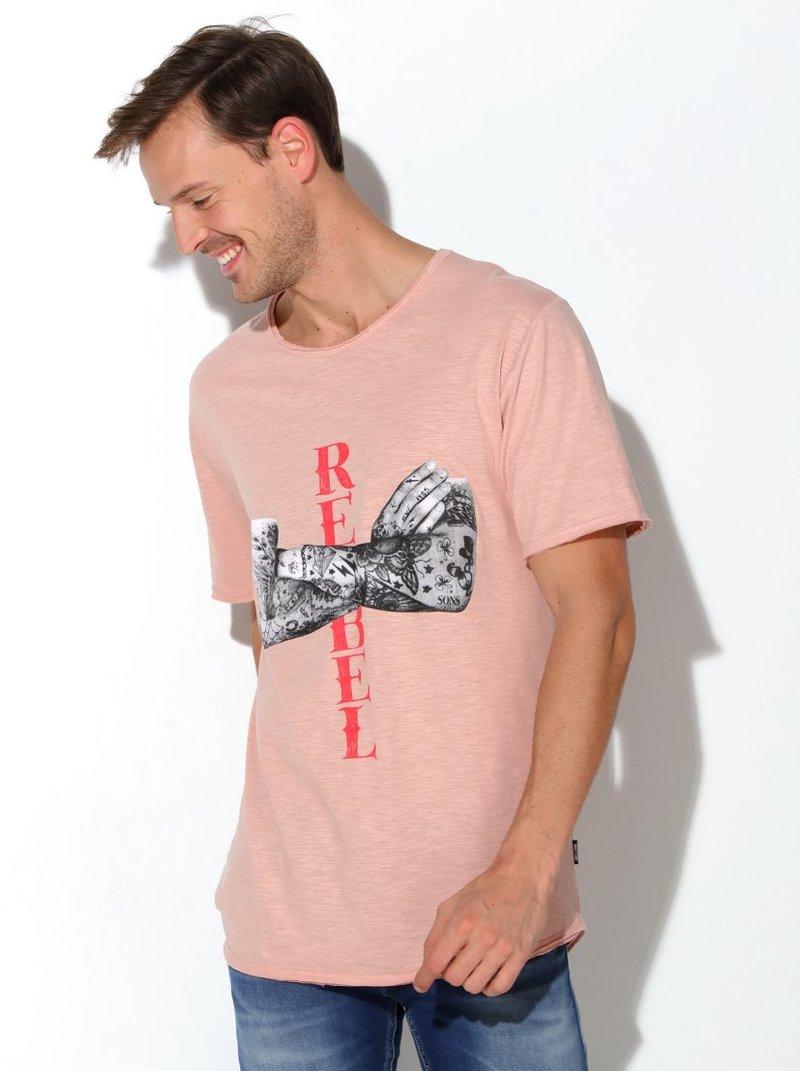 Camiseta flamé print fotográfico
