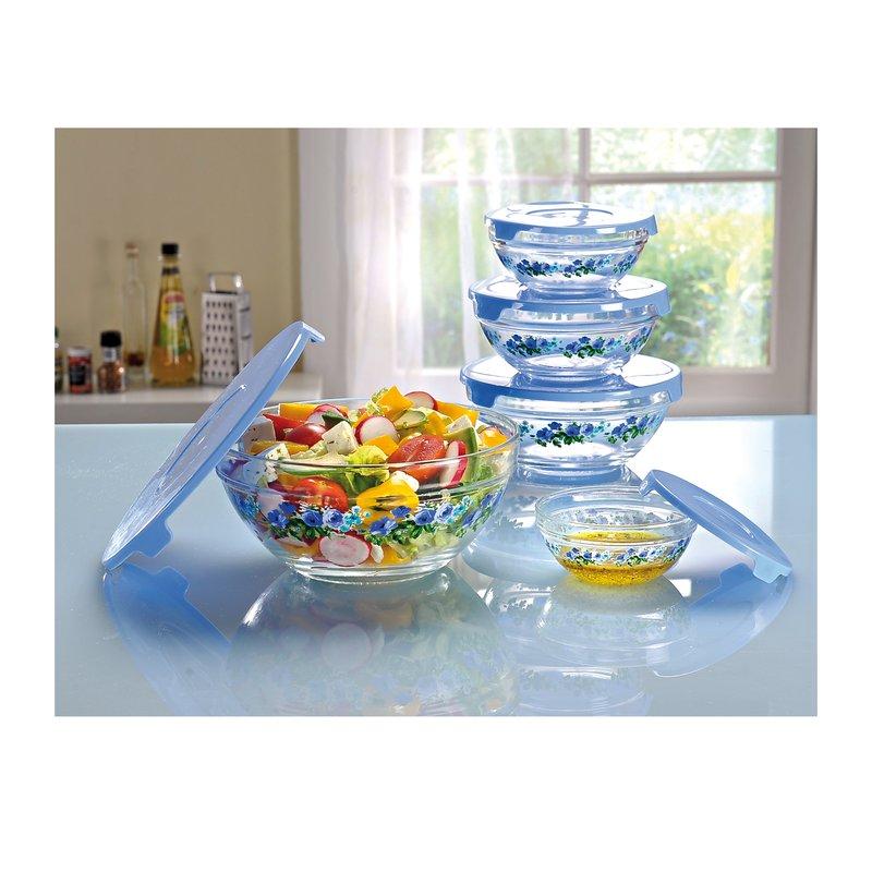 Lote 5 ensaladeras de cristal con tapas