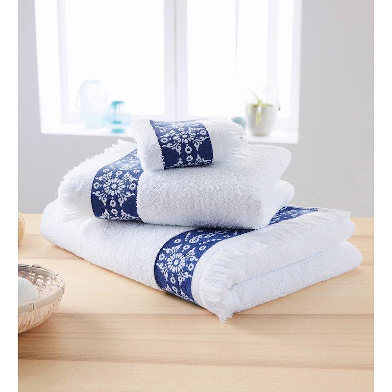Lote 3 toallas de rizo con jacquard y flecos
