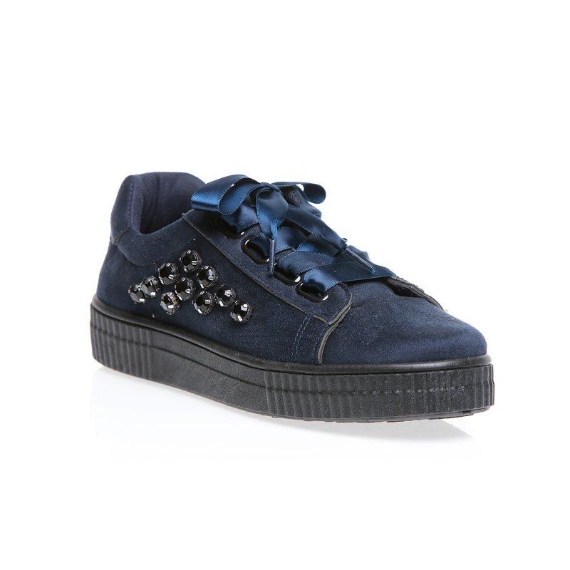 Zapatillas deportivas de antelina y cordones satinados