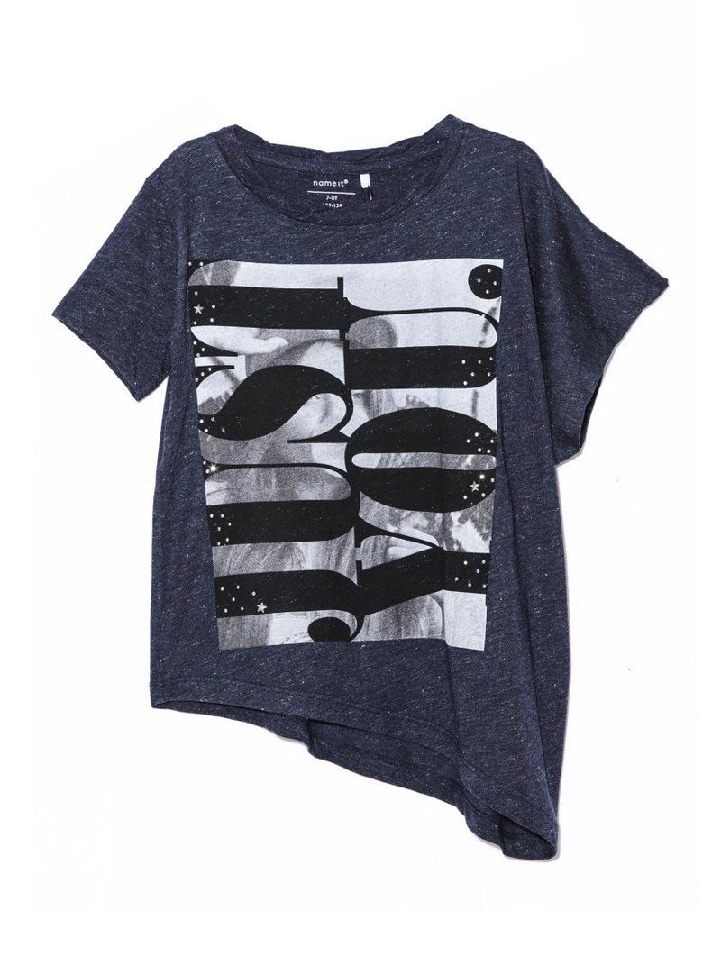 Camiseta manga corta asimétrica hilos lúrex
