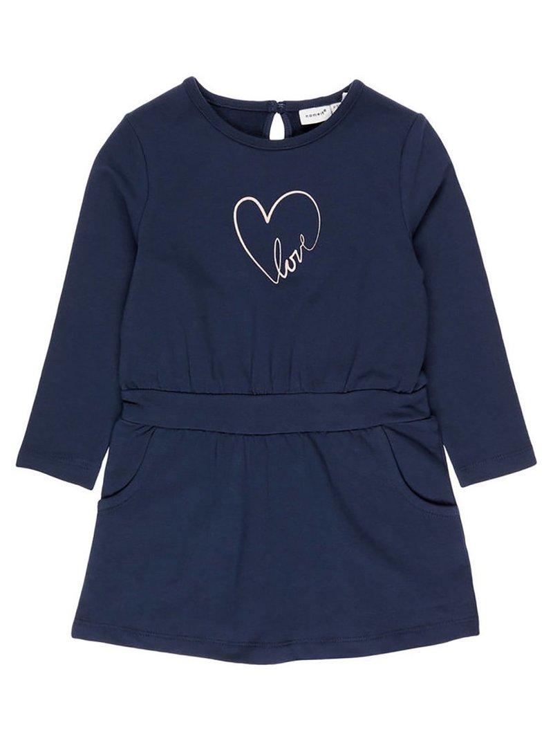 Vestido felpa niña con corazón y letras