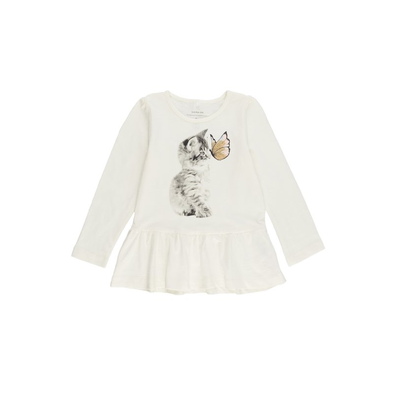 Camiseta niña gatito con mariposa glitter