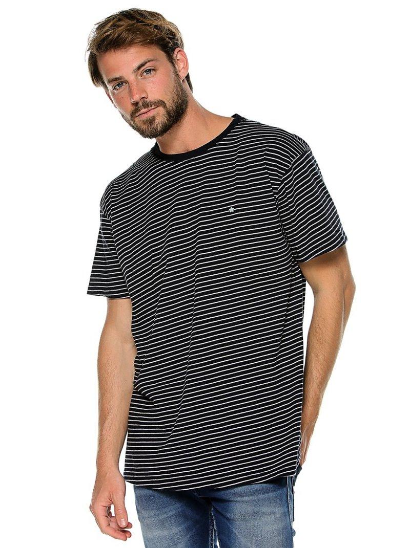 Camiseta de hombre manga corta mini raya tejida