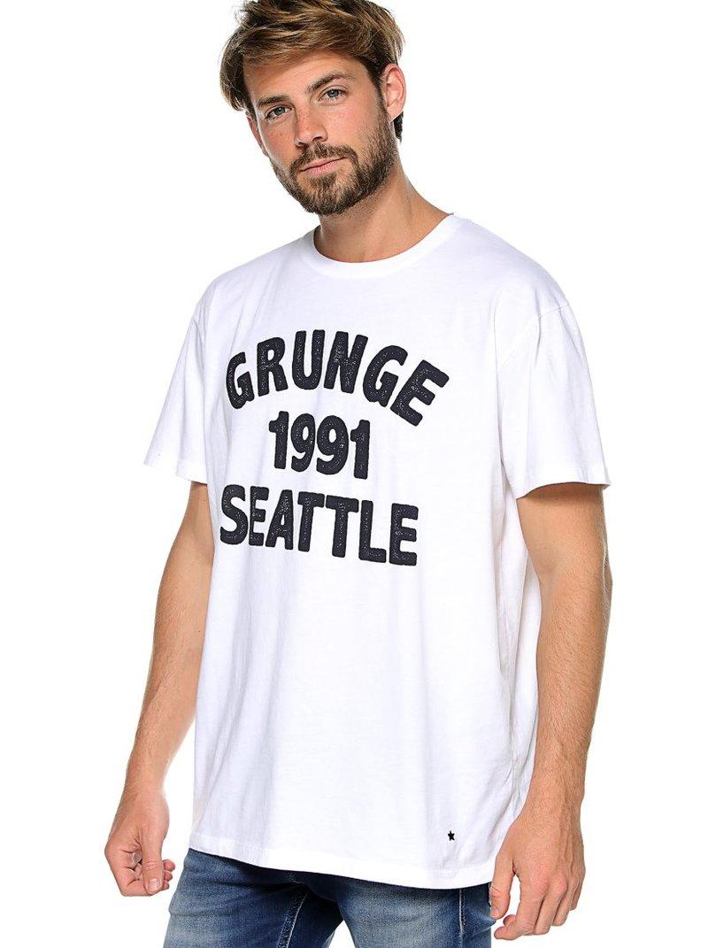 Camiseta hombre manga corta letras grunge 1991