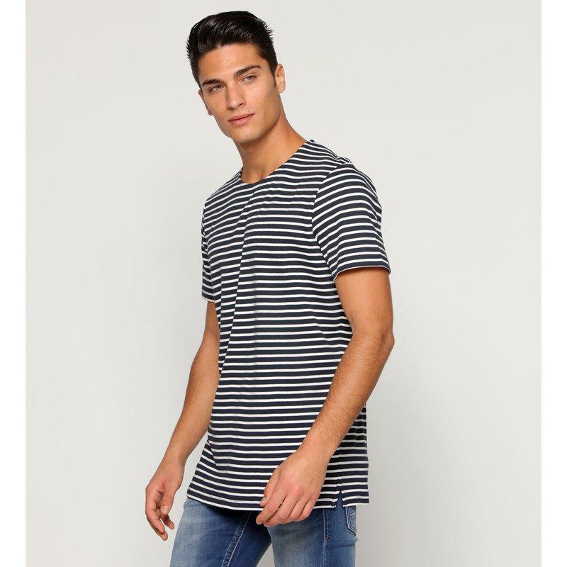 SELECTED - Camiseta manga corta raya corte lateral
