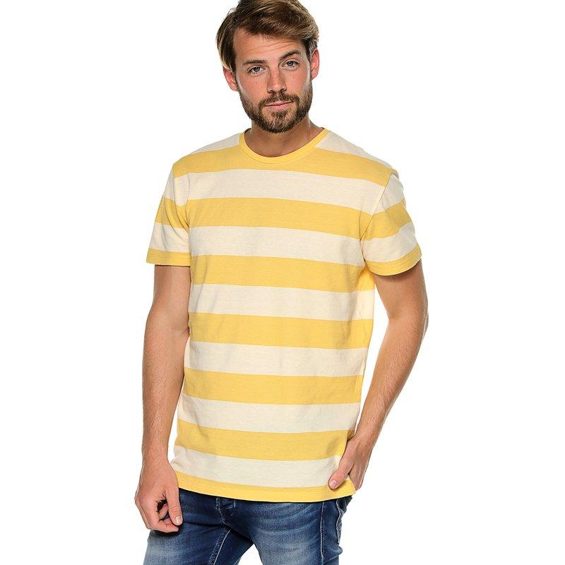 Camiseta  punto piqué franjas tejidas