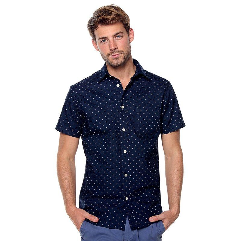 SELECTED - Camisa manga corta slim fit estampada