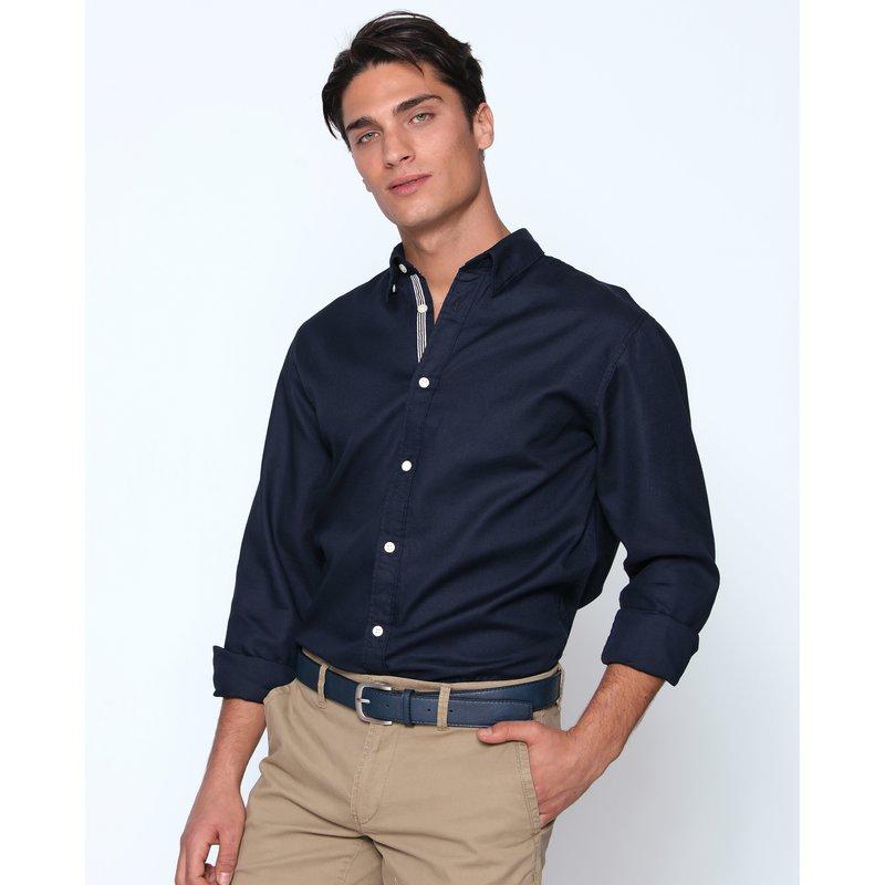 Camisa cuello clásico con cinta rayas interior