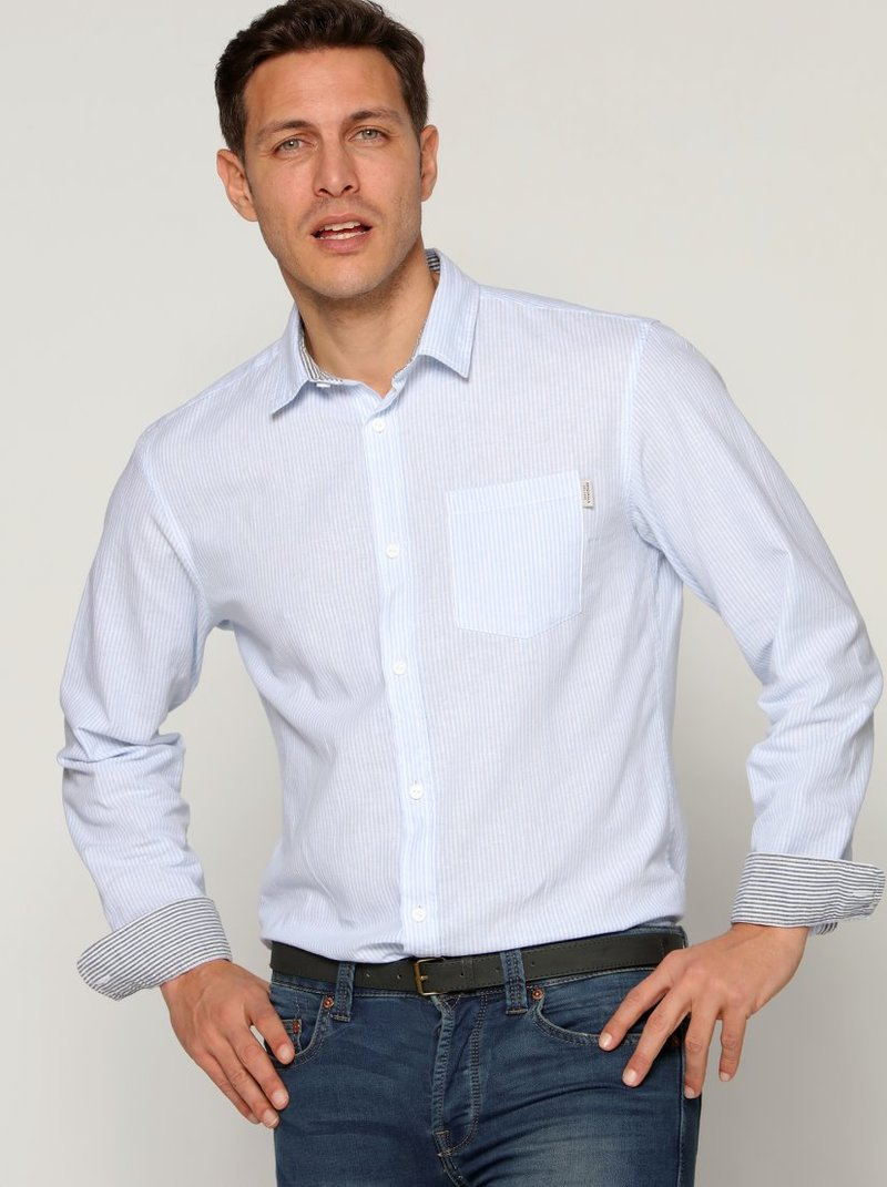 Camisa de lino raya tejida  interior