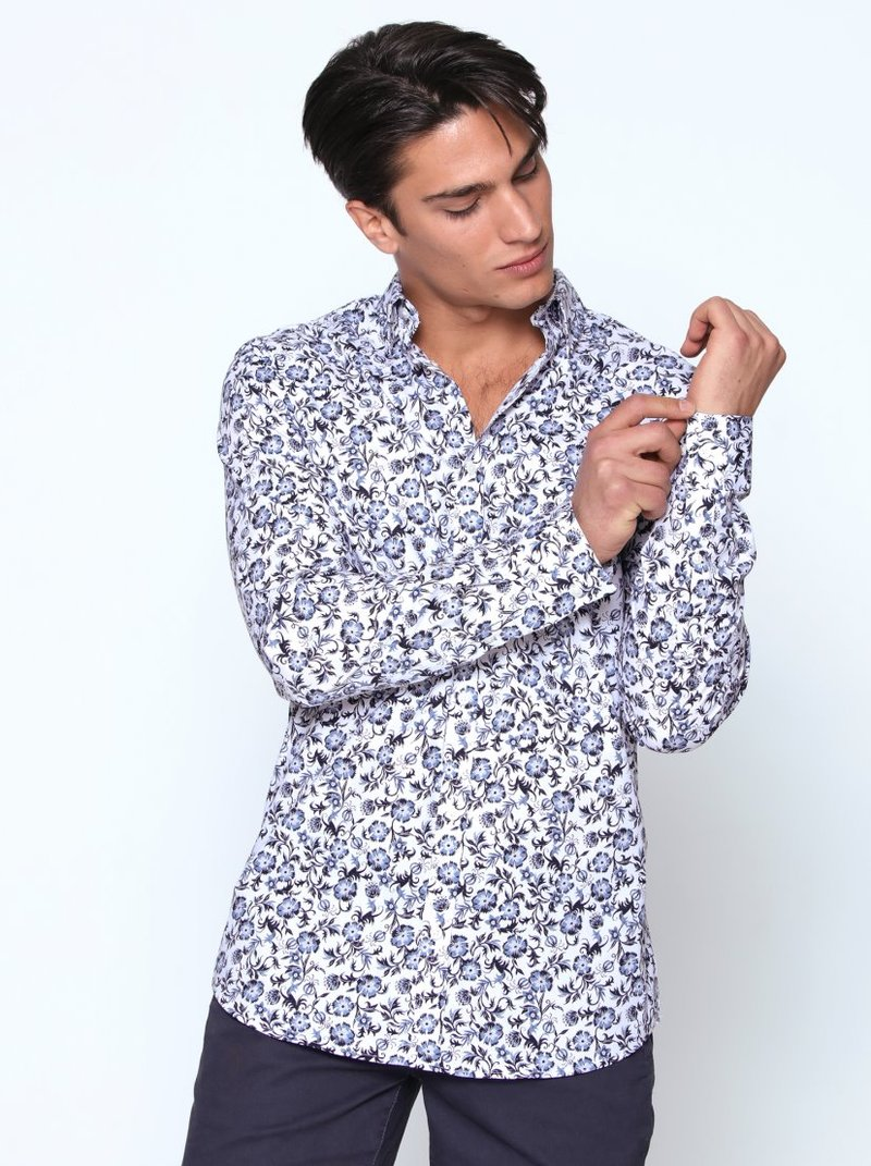 Camisa hombre manga larga flores