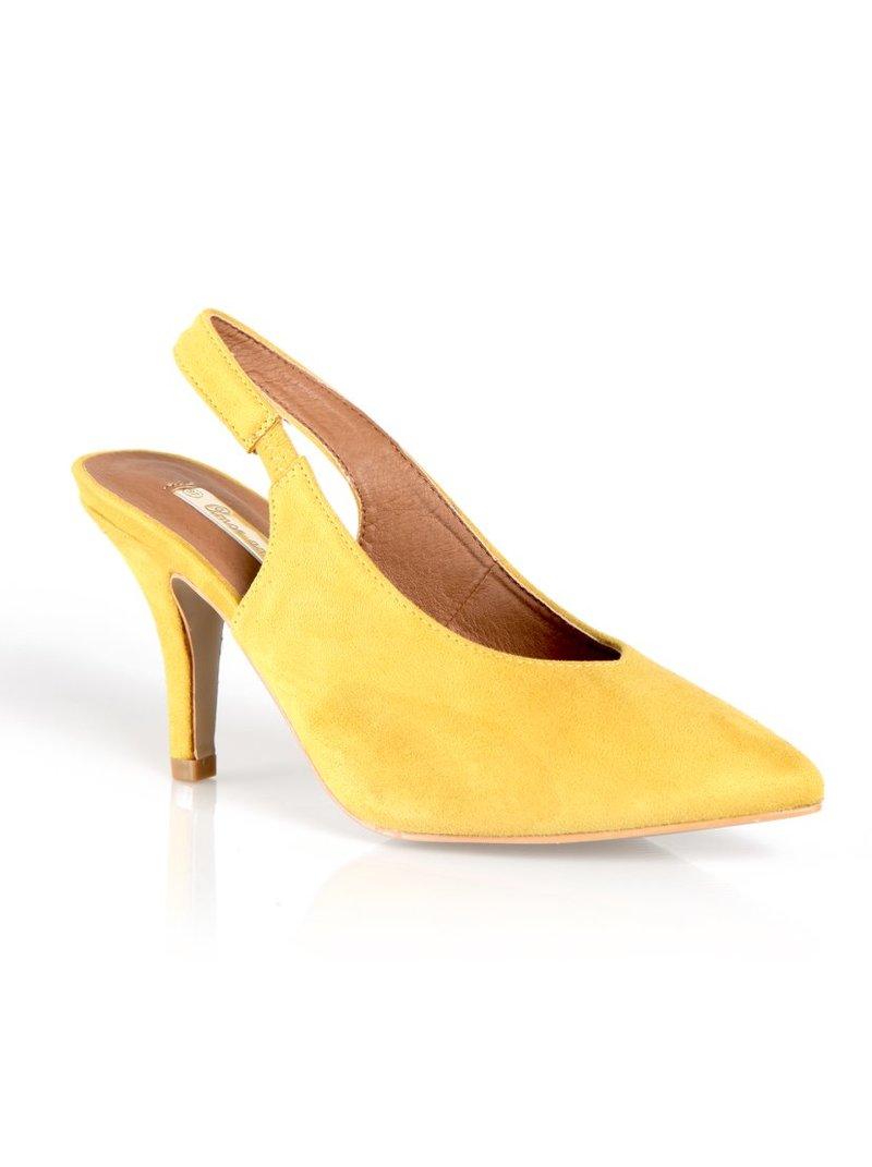 Zapatos tacón símil antelina talón descubierto