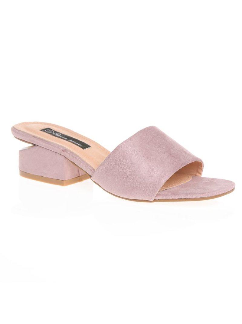 Sandalias de tacón cuadrado con pieza plateada