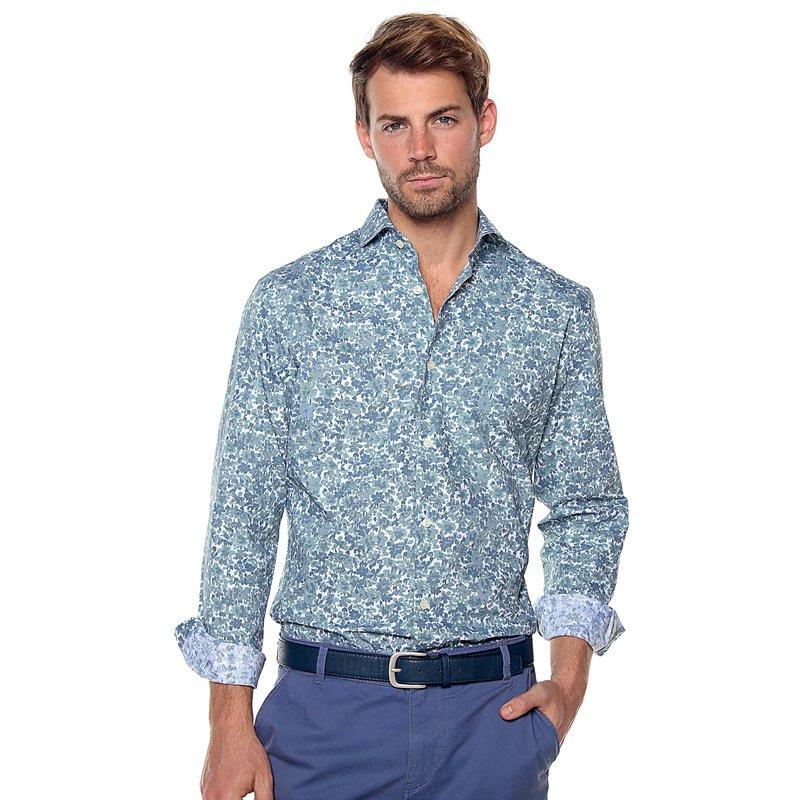 Camisa hombre estampado flores slim fit