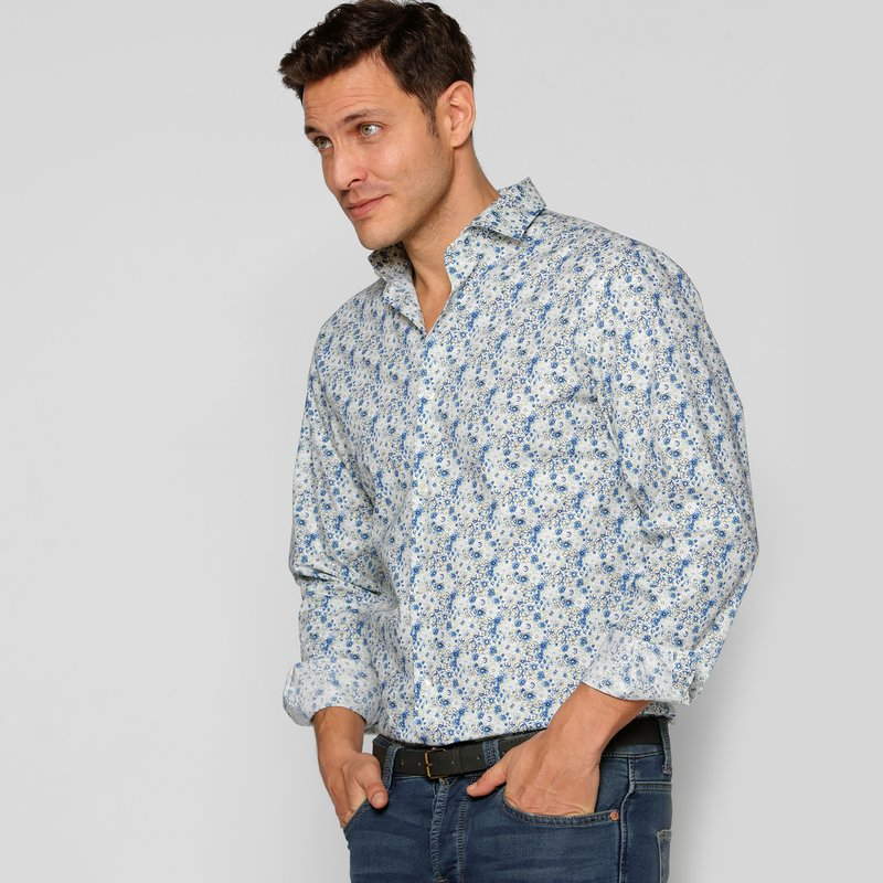 Camisa cuello cut away estampado flores