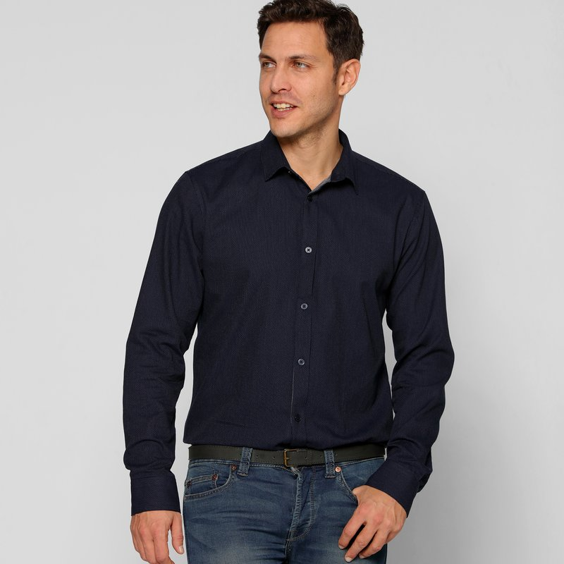 Camisa hombre micro topo jacaquard slim fit