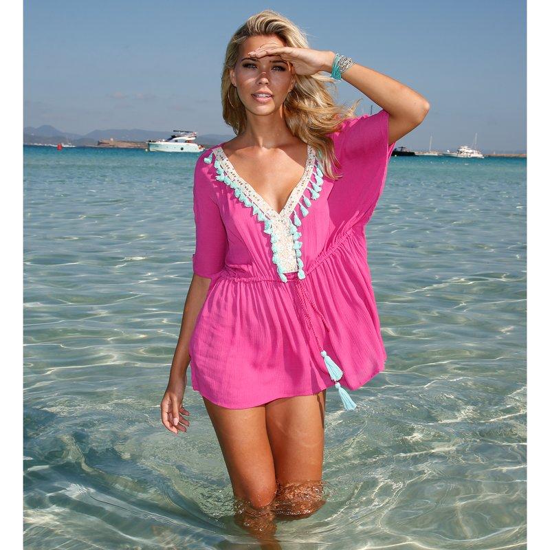 Blusa cuadrada con encaje a contraste y borlas