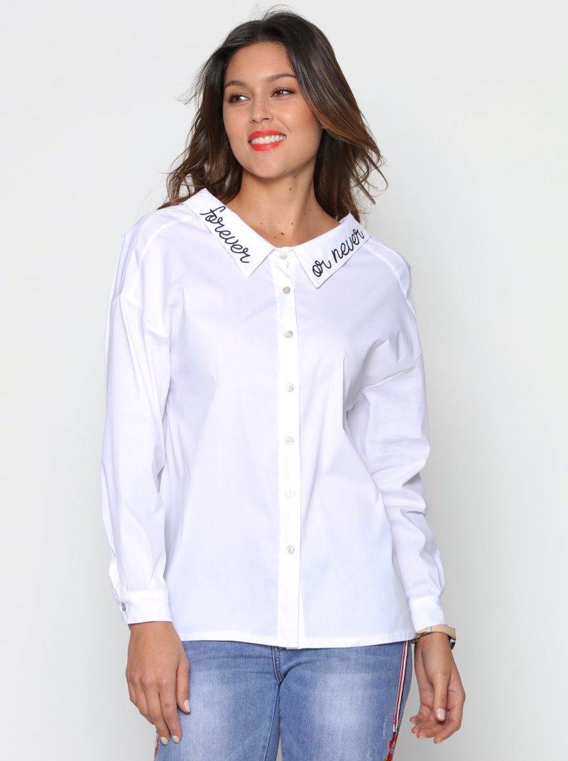 Camisa manga larga amplio cuello camisero bordado