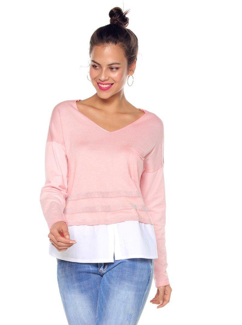 Jersey tricot escote en V y franjas hilos metalizados