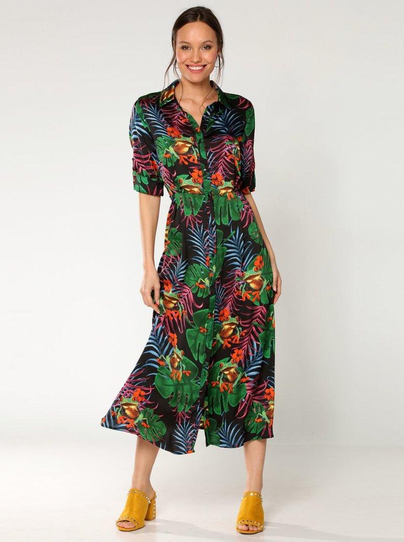 Vestido largo camisero y estampado tropical