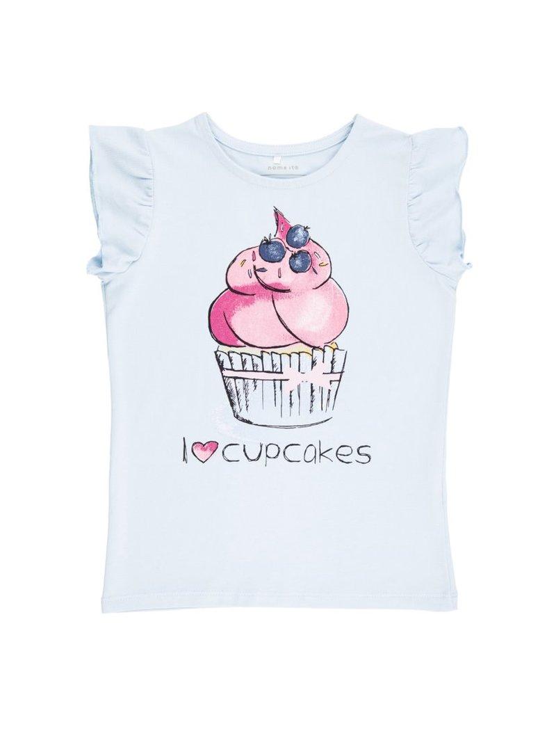 Camiseta niña estampado cupcakes volante