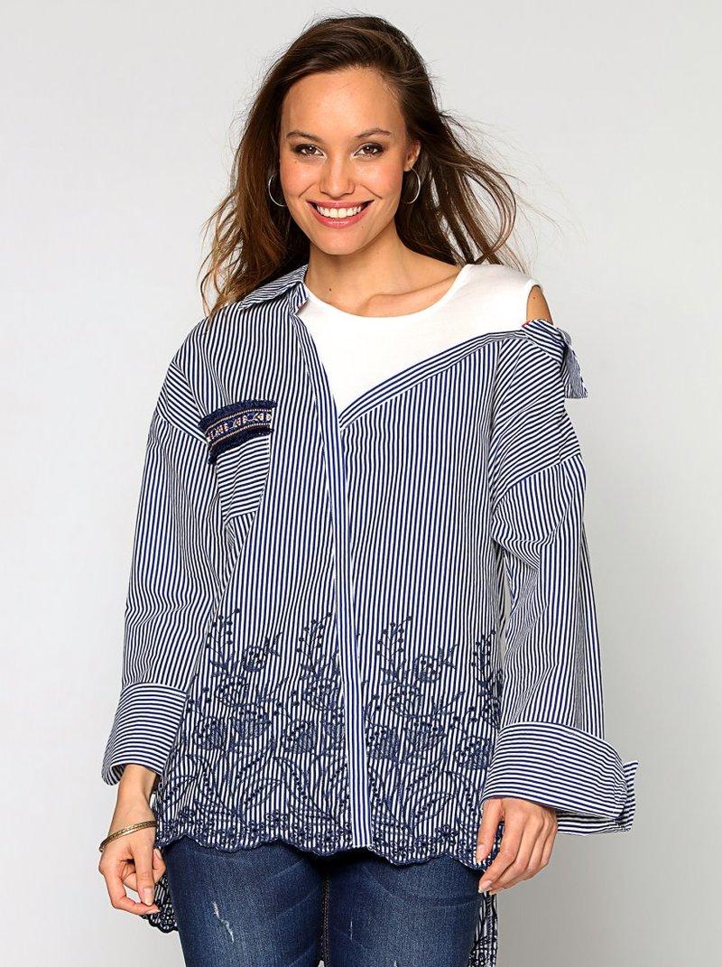 Blusa rayas efecto dos piezas asimétrica bordado suizo