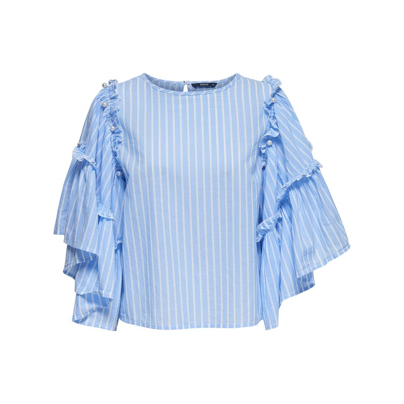 ONLY - Blusa mujer mangas con volantes y perlas