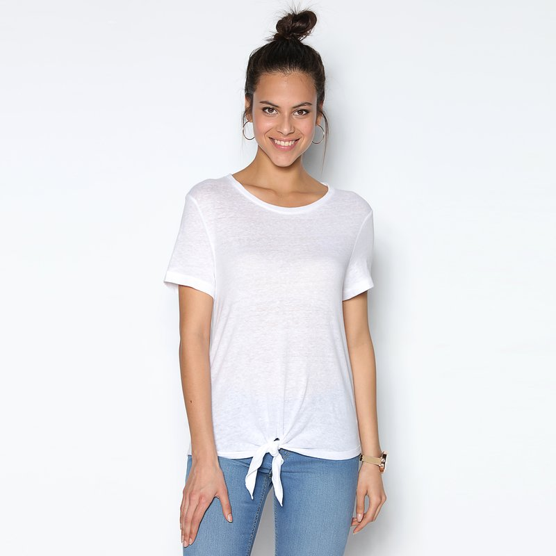 Camiseta mujer manga corta con bajo anudado - Only