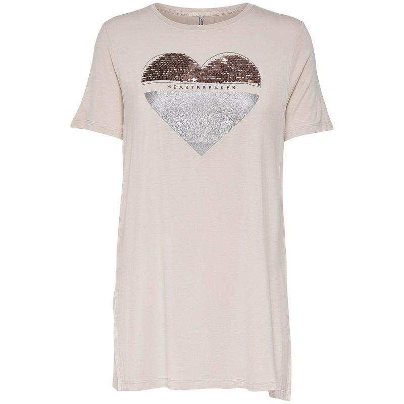 Camiseta larga mujer corazón de lentejuelas - Only
