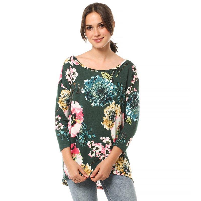 ONLY - Camiseta mujer flores escote redondeado