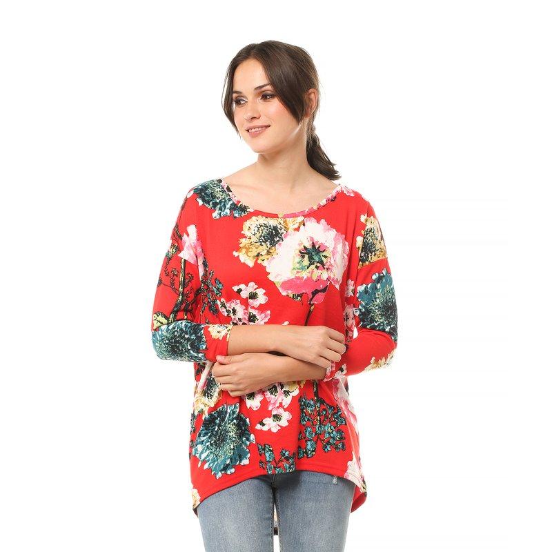 Camiseta mujer flores escote redondeado - Only