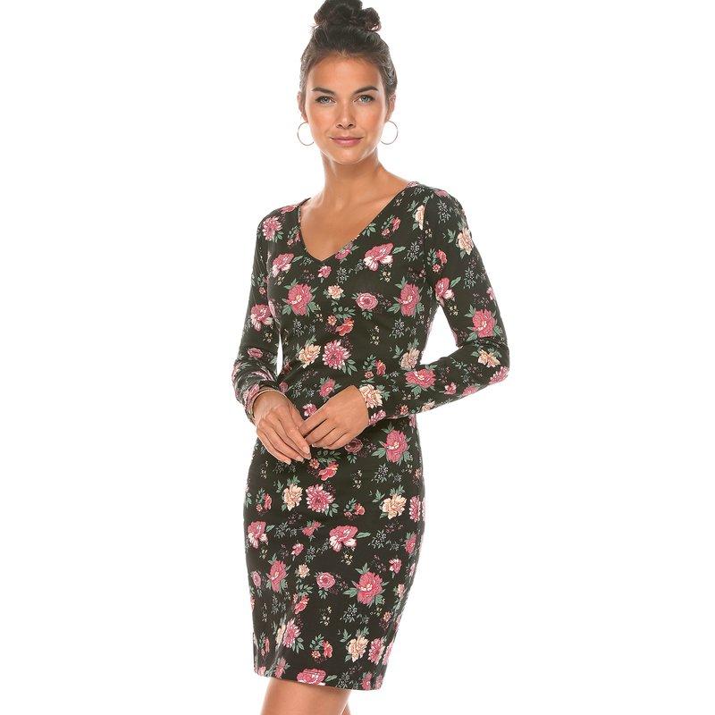 Vestido estampado flores manga larga y escote V