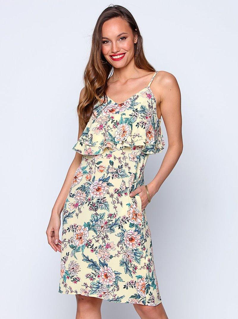 Vestido tirantes crepe flores estampadas escote V
