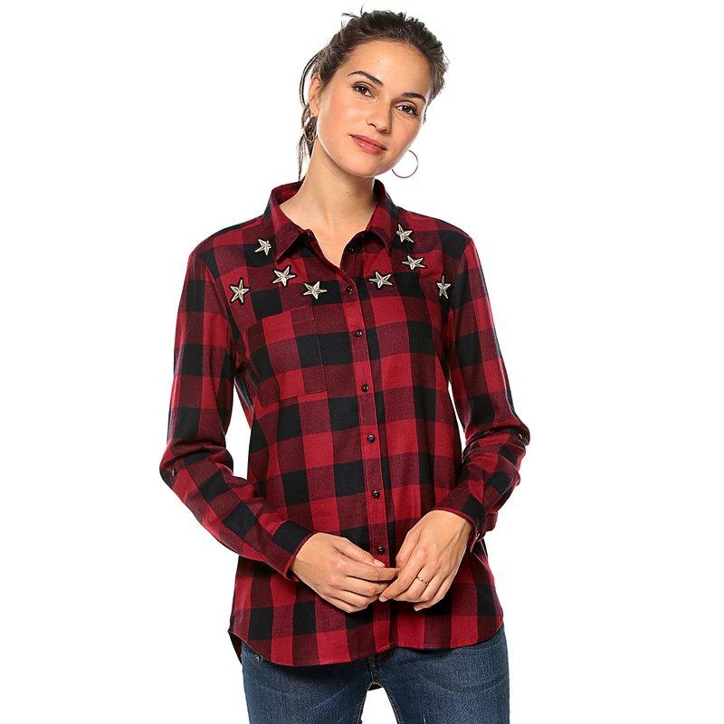 ONLY - Camisa a cuadros mujer manga larga