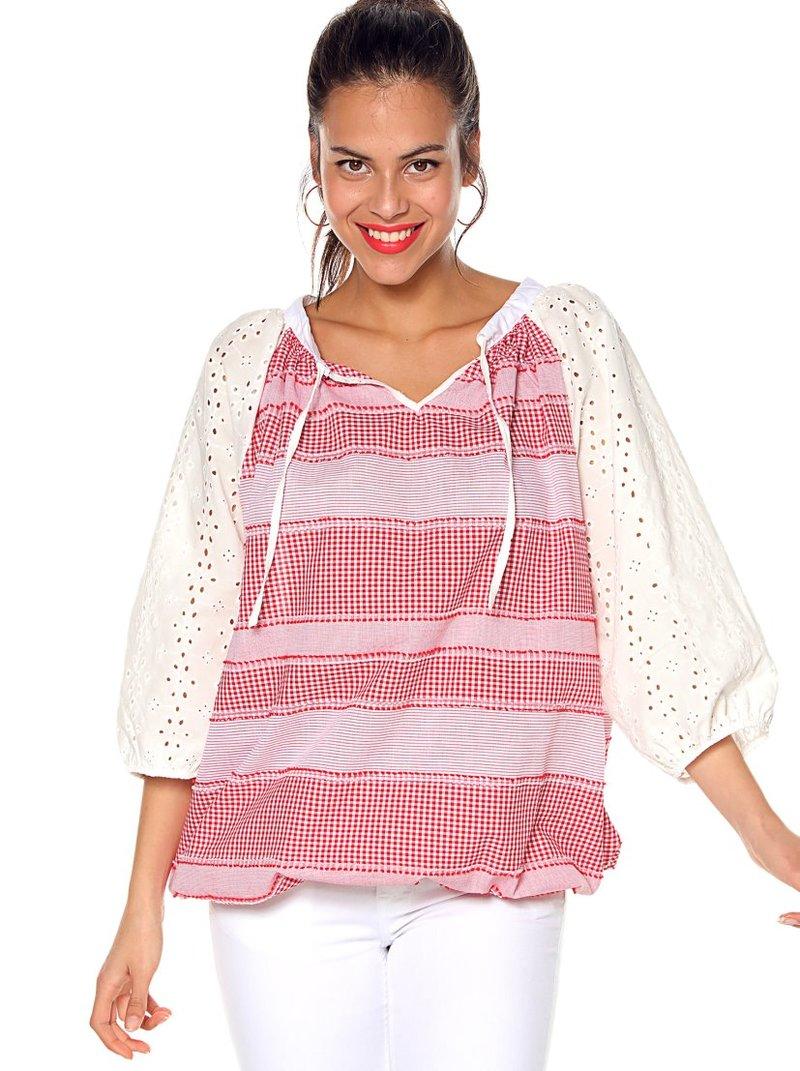 Blusa oversize cuadros tejidos y bordado suizo