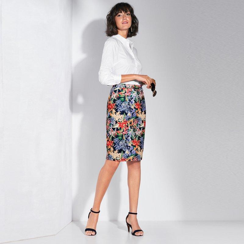 Falda pincel estampada punto elástico